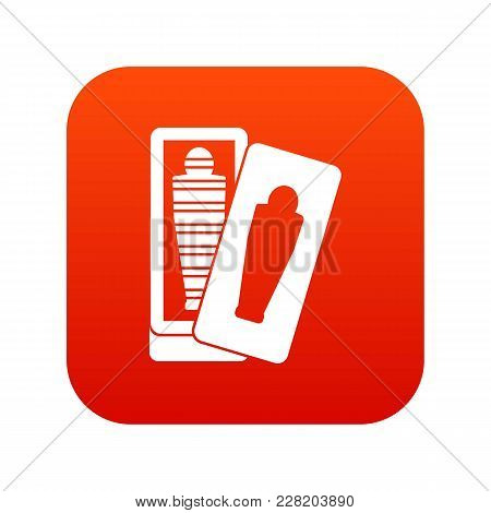 Mummy In Sarcophagus Icon Digital Red For Any Design Isolated On White Vector Illustration