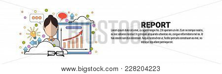 Report Financial Sales Data Concept Horizontal Banner With Copy Space Flat Vector Illustration
