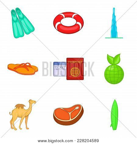 Hot Summer Icons Set. Cartoon Set Of 9 Hot Summer Vector Icons For Web Isolated On White Background