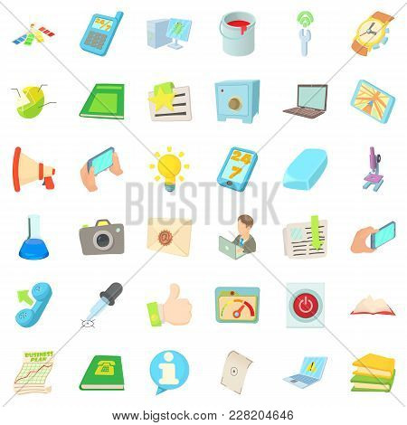 Office Firm Icons Set. Cartoon Set Of 36 Office Firm Vector Icons For Web Isolated On White Backgrou