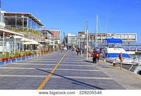 Limassol, Cyprus - January 9, 2018: View Of The Limassol Old Port Promenade With Modern Restaurants
