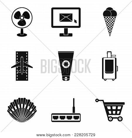 Sunny Summer Icons Set. Simple Set Of 9 Sunny Summer Vector Icons For Web Isolated On White Backgrou