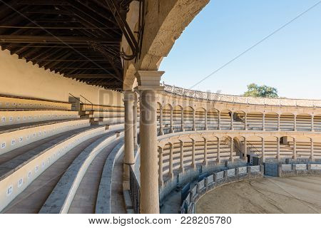 Ronda, Spain - December 2017: Corrida Bullring Of Plaza De Toros