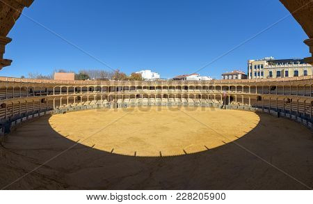 Ronda, Spain - December 2017: Corrida Bullring Of Plaza De Toros