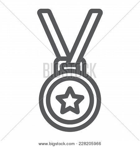 Medal Line Icon, Trophy And Award, Best Student Sign Vector Graphics, A Linear Pattern On A White Ba