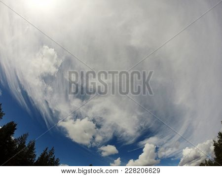 Blue Sky With Cloud In The North Of Sweden
