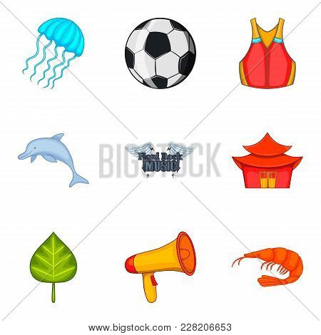 Summerly Icons Set. Cartoon Set Of 9 Summerly Vector Icons For Web Isolated On White Background