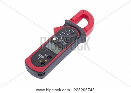Red Multimeter Clamp For Electricity Mesure On White Background.