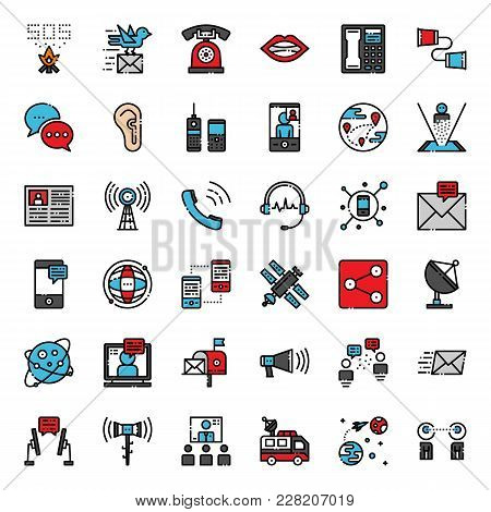 Communication Evolution Pixel Perfect Filled Outline Icon, Isolated On White Background
