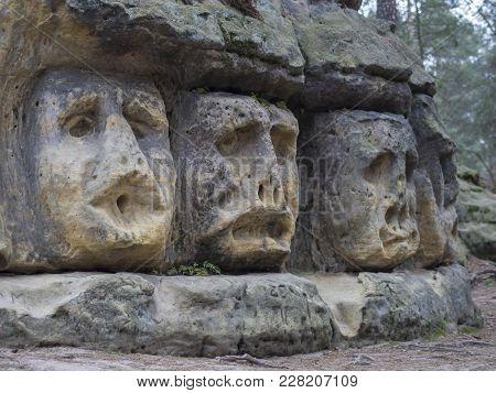 Big Head Sculpted In 1846 By Vaclav Levy To The Sand Stone Rock In Zelizy, Czech Republic