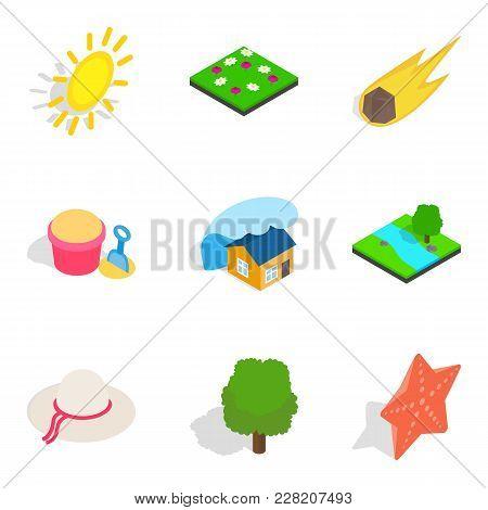 Sunshine Icons Set. Isometric Set Of 9 Sunshine Vector Icons For Web Isolated On White Background