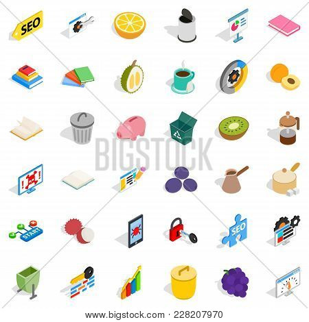 Place Of Employment Icons Set. Isometric Set Of 36 Place Of Employment Vector Icons For Web Isolated