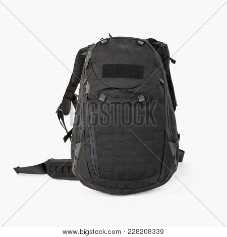Tourist Black Backpack For Tourists With Zipped Pockets On A White Background, Medium Size