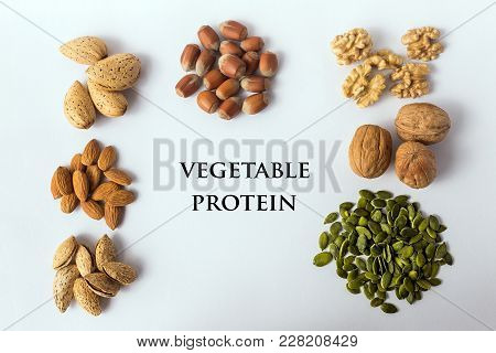 Different Types Of Nuts And Seeds. A Full Source Of Vegetable Protein In Vegetarianism And Raw Food.