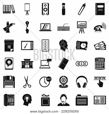 Clerical Work Icons Set. Simple Set Of 36 Clerical Work Vector Icons For Web Isolated On White Backg
