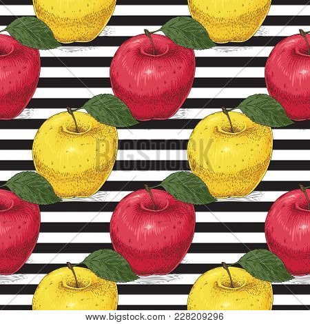 Seamless Pattern With Ripe Red And Yellow Apples With Leaves On A Striped Black And White Background