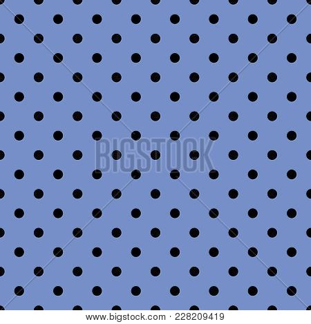 Tile Vector Pattern With Black Polka Dots On Pastel Blue Background