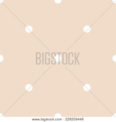 Seamless Vector Pattern With White Polka Dots On A Tile Pastel Pink Background