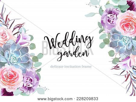 Stylish Plum Colored And Pink Flowers Vector Design Banner Card. Rose, Purple Carnation, Bell Flower