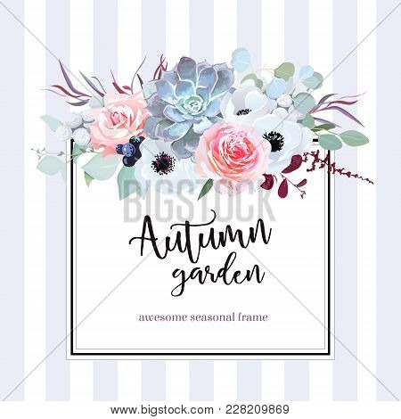 Square Floral Vector Design Card. Anemone, Echeveria Succulent, Rose, Brunia, Black Berry, Eucalyptu