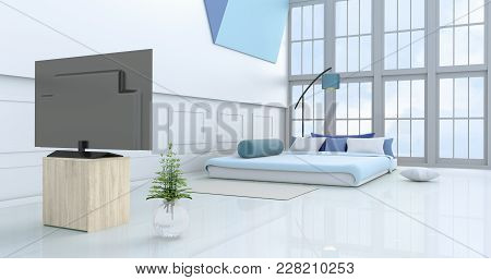 White-blue Bedroom Decorated With Light Blue Bed,tree In Glass Vase, Pillows, Bedside Table, Window,