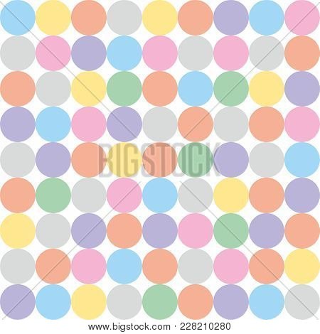 Tile Vector Pattern With Pastel Polka Dots On White Background