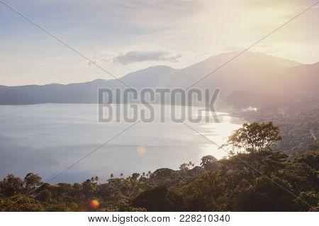 Aerial View Of Lake Coatepeque In El Salvador. Santa Ana, El Salvador.