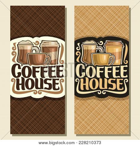 Vector Vertical Banners For Coffee House, Sign With Set Of Brown Porcelain Cup, Glass Of Irish Coffe