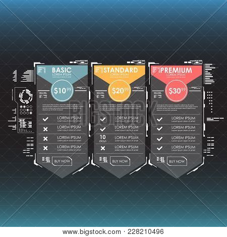 Three Tariffs. Interface For The Site. Vector Banner