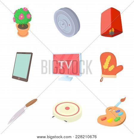 Dwelling Icons Set. Cartoon Set Of 9 Dwelling Vector Icons For Web Isolated On White Background