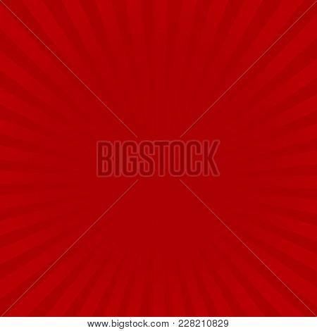 Sunburst Red Rays Pattern. Radial Sunburst Ray Background Vector Illustration.
