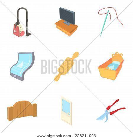 Dwelling House Icons Set. Cartoon Set Of 9 Dwelling House Vector Icons For Web Isolated On White Bac