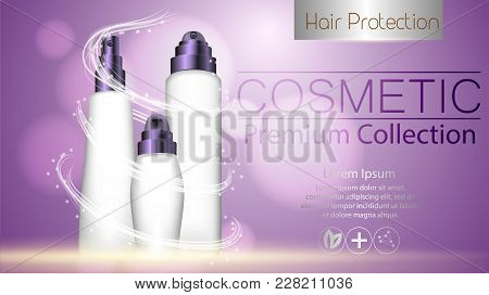 A Realistic Template Cosmetic Package. Cosmetics Product Pack Design. Realistic Silk Textil. Beautif