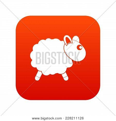 Sheep Icon Digital Red For Any Design Isolated On White Vector Illustration