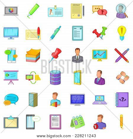 Accounting Department Icons Set. Cartoon Set Of 36 Accounting Department Vector Icons For Web Isolat