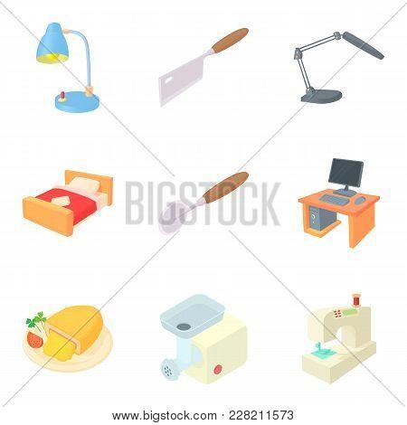 Residential Quarter Icons Set. Cartoon Set Of 9 Residential Quarter Vector Icons For Web Isolated On