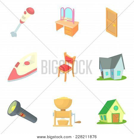 Residential District Icons Set. Cartoon Set Of 9 Residential District Vector Icons For Web Isolated