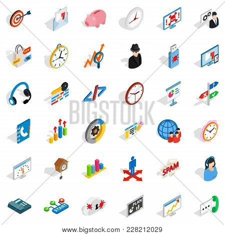 Worksite Icons Set. Isometric Set Of 36 Worksite Vector Icons For Web Isolated On White Background