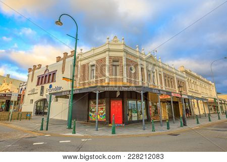 Albany, Australia - Dec 28, 2017: Empire Buildings With Mark Blyth Fine Jewellery Store And Buttersc