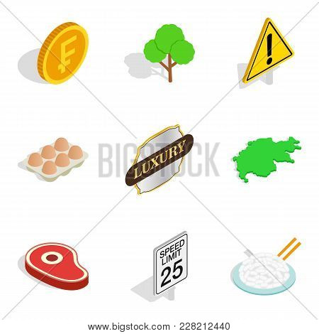 Swiss Icons Set. Isometric Set Of 9 Swiss Vector Icons For Web Isolated On White Background