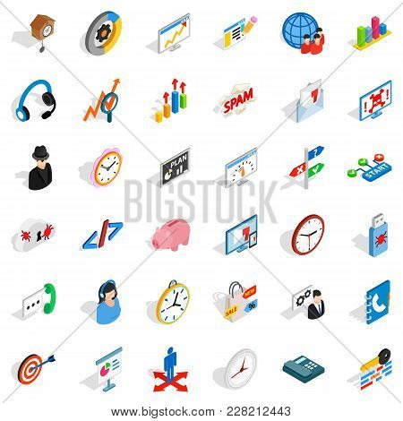 Working Surface Icons Set. Isometric Set Of 36 Working Surface Vector Icons For Web Isolated On Whit
