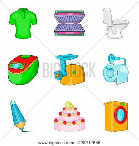 Upper Room Icons Set. Cartoon Set Of 9 Upper Room Vector Icons For Web Isolated On White Background