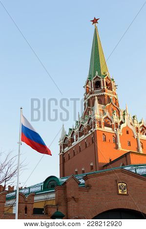 Kremlin Tower. Flag And Emblem Of The Russian Federation.