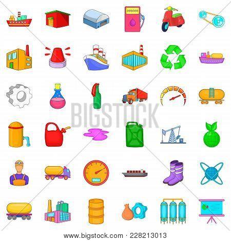 Petroleum Industry Icons Set. Cartoon Set Of 36 Petroleum Industry Vector Icons For Web Isolated On