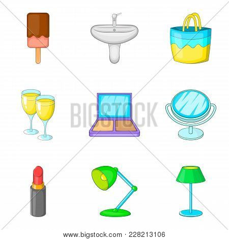 Private Room Icons Set. Cartoon Set Of 9 Private Room Vector Icons For Web Isolated On White Backgro