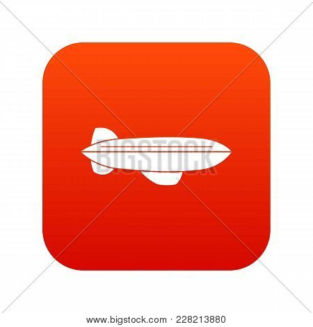 Blimp Aircraft Flying Icon Digital Red For Any Design Isolated On White Vector Illustration
