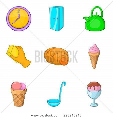 Household Goods Icons Set. Cartoon Set Of 9 Household Goods Vector Icons For Web Isolated On White B