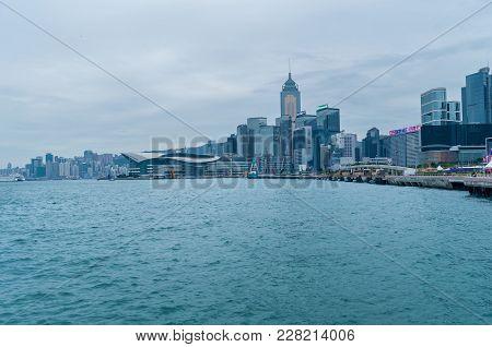 Hong Kong January 29, 2016: Victoria Harbor And Hong Kong Island.photo Taken From Victoria Harbor