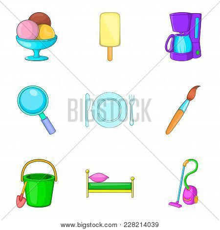 Household Articles Icons Set. Cartoon Set Of 9 Household Articles Vector Icons For Web Isolated On W