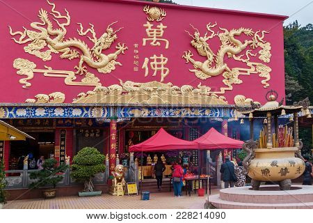 Hong Kong January 29, 2016: Ten Thousand Buddhas Monastery In Hong Kong